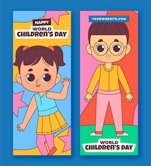 Set di banner verticali per la giornata mondiale dei bambini disegnati a mano