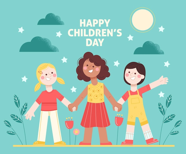 Hand drawn world childrens day concept