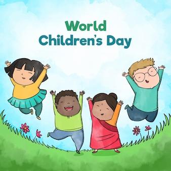 Concetto di giornata mondiale dei bambini disegnati a mano