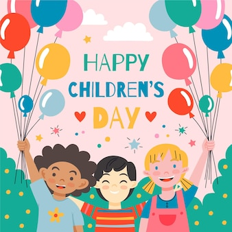 손으로 그린 세계 어린이 날