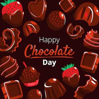 Illustrazione disegnata a mano della giornata mondiale del cioccolato