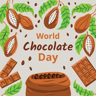 손으로 그린 세계 초콜릿 하루 그림
