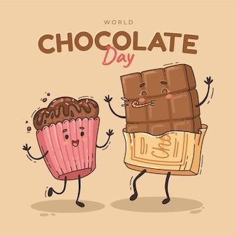 Нарисованная рукой иллюстрация всемирного дня шоколада
