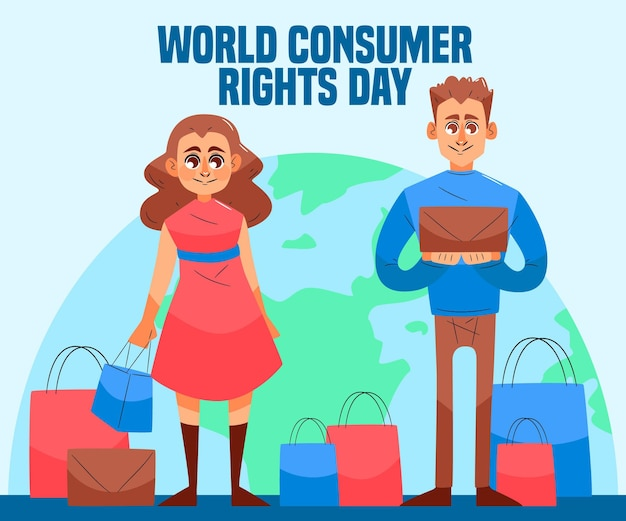 Hand-drawn world consumer rights day illustration