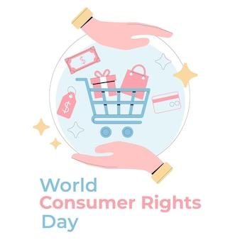 손으로 그린 세계 소비자 권리의 날 그림