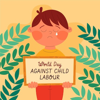 Hand drawn world day against child labour illustration