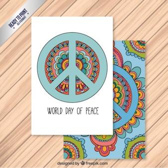 平和カードの手描きの世界の日