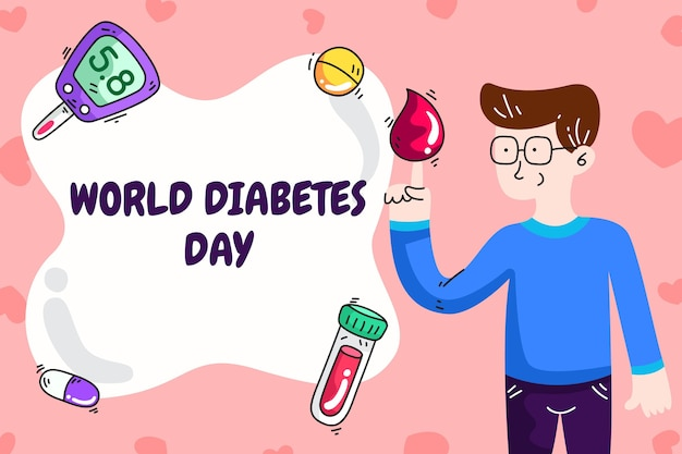 손으로 그린 세계 당뇨병의 날 그림