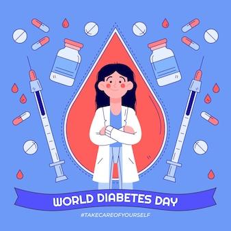 Нарисованная рукой иллюстрация всемирного дня диабета