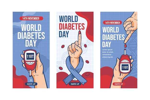 Hand drawn world diabetes day instagram stories collection