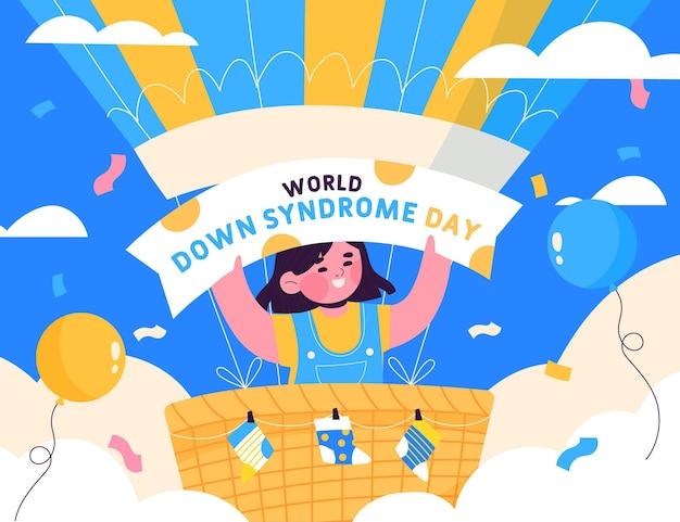 Нарисованная от руки иллюстрация всемирного дня синдрома дауна с ребенком и воздушными шарами