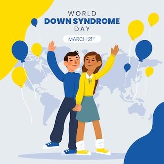 Нарисованная от руки иллюстрация всемирного дня синдрома дауна с детьми и воздушными шарами