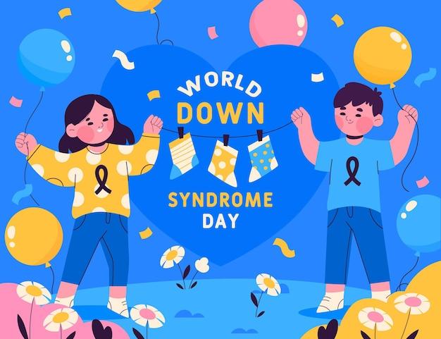 Illustrazione disegnata a mano della giornata mondiale della sindrome di down con bambini e palloncini