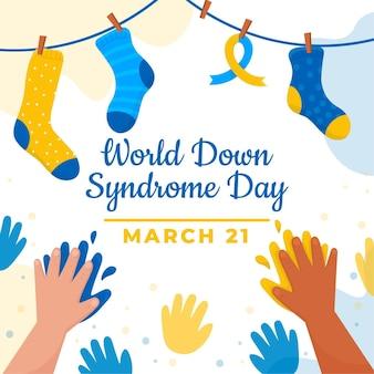手と靴下で手描きの世界ダウン症の日のイラスト