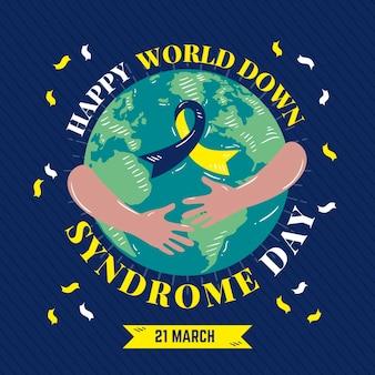Illustrazione disegnata a mano della giornata mondiale della sindrome di down con pianeta e nastro