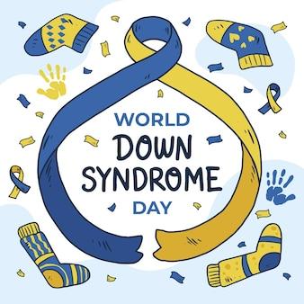 리본과 양말로 손으로 그린 세계 다운 증후군의 날 그림