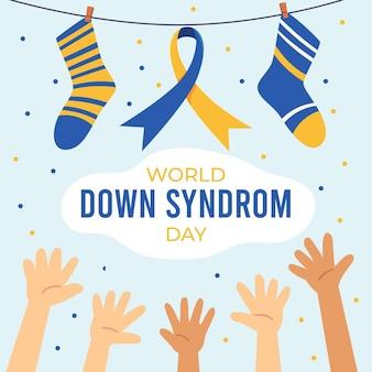 靴下と手で手描きの世界ダウン症の日のイラスト