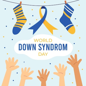Hand-drawn world down syndrome day illustration with socks and hands