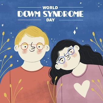 Hand drawn world down syndrome day illustration