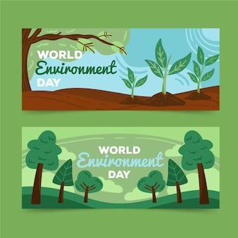 손으로 그린 세계 환경의 날 배너 서식 파일