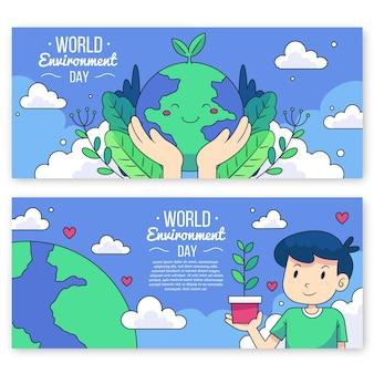 手描きの世界環境デーバナーセット