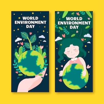 Set di banner di giornata mondiale dell'ambiente disegnati a mano