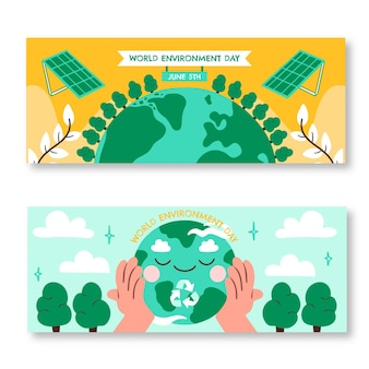 Hand drawn world environment day banners set