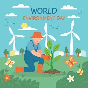 손으로 그린 세계 환경의 날 그림