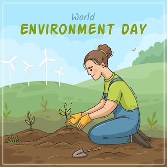 Hand drawn world environment day illustration