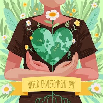 Нарисованная рукой иллюстрация всемирного дня окружающей среды