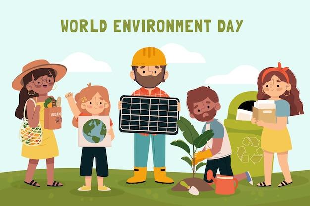 Illustrazione disegnata a mano della giornata mondiale dell'ambiente