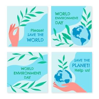 Raccolta di post di instagram di giornata mondiale dell'ambiente disegnata a mano