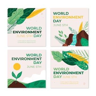 Hand drawn world environment day instagram posts collection