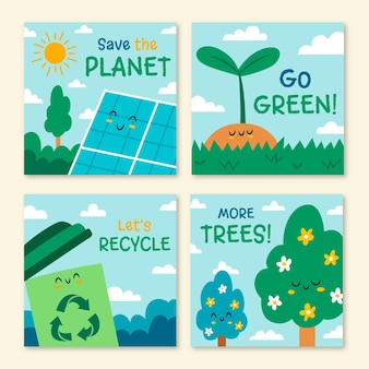 Hand drawn world environment day instagram posts collection Free Vector
