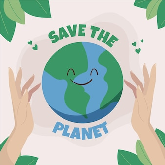 Hand drawn world environment day save the planet illustration