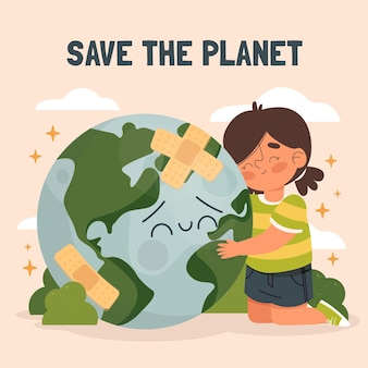 La giornata mondiale dell'ambiente disegnata a mano salva l'illustrazione del pianeta