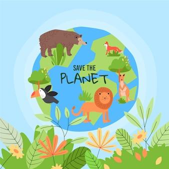 손으로 그린 세계 환경의 날 행성 그림을 저장
