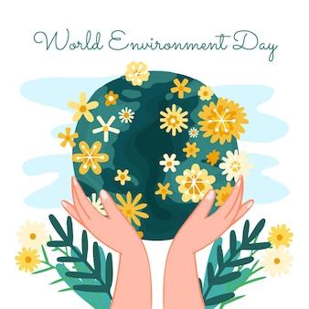 手描きの世界環境の日は惑星のイラストを保存します