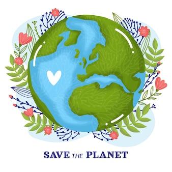Нарисованный рукой всемирный день окружающей среды спасите планету иллюстрации Бесплатные векторы