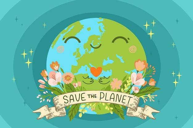 Нарисованный рукой всемирный день окружающей среды спасите планету иллюстрации