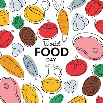 Hand drawn world food day background