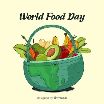 Hand drawn world food day in a basket