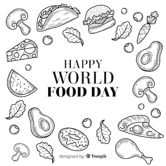 Hand drawn world food day in black and white