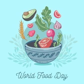 Нарисованная рукой концепция всемирного дня еды