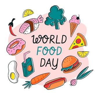 Progettazione di eventi della giornata mondiale dell'alimentazione disegnata a mano