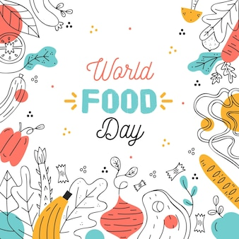 Hand drawn world food day event illustration