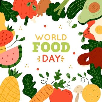 손으로 그린 세계 음식의 날 그림