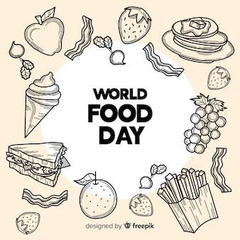 Hand drawn world food day with sweets and fast food