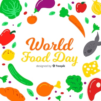Hand drawn world food day with vegetables