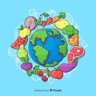 手描きの野菜とステーキで世界の食べ物の日